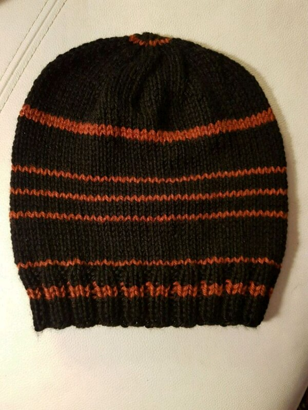 black and red knit cap