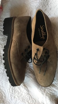 Shellys London Platform Gray Suede Leather Oxfords