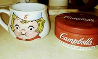 Campbells soup mug and soup container