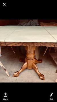 Table round oak light green shabby chic top