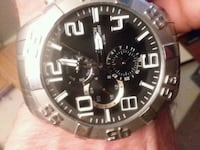 round black chronograph watch with silver link bracelet Eugene, 97401