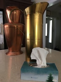Decorator Milk Cans - one copper , one brass ...