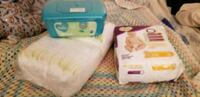 Almost 100 diapers, size 1&2,  baby wipes Brampton, L6T 2M2