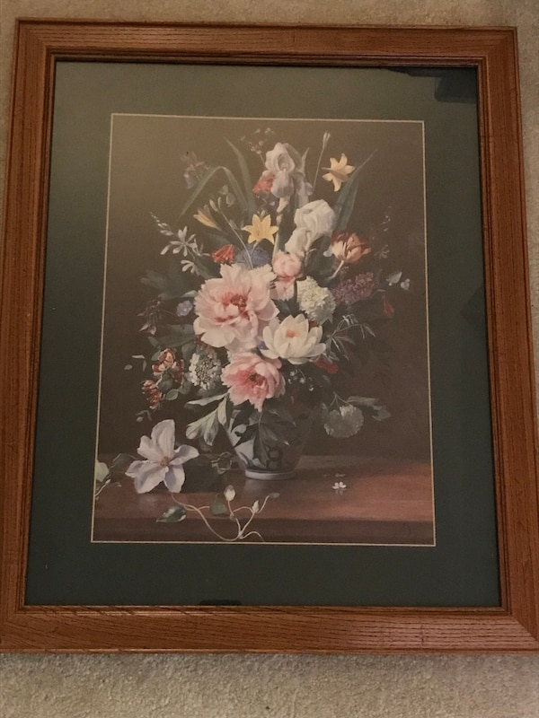 """Framed floral print. Solid wood frame is 18"""" W x 22 1/2"""" H 6ecb85dd-1b89-4a9d-994e-be6cb5ee02ca"""