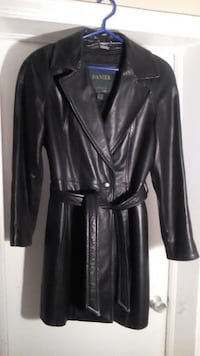 Leather Danier Coat women's black with a belt Toronto