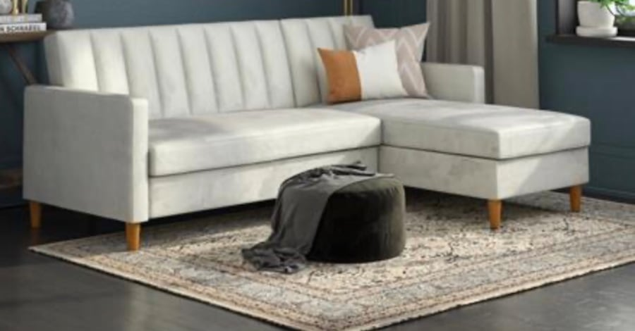 Futon Sectional with Storage (Velvet Light Gray) ***Assembly Required 4db63c67-5c22-4879-a0e7-f942937a7fde