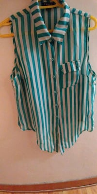 teal and white stripe sleeveless top Winnipeg