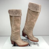 pair of women's gray leather heeled thigh high boots Pyrmont, 2009