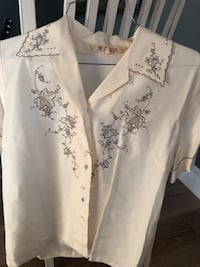 white and black floral button-up shirt Los Gatos, 95032