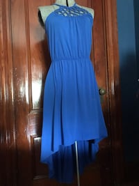 High-low summer blue dress