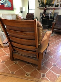 Mission style wood and leather chair. Ottoman comes too.  Sarasota, 34232