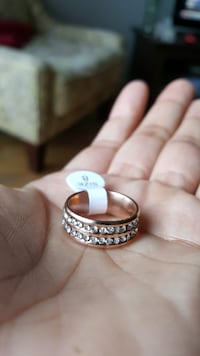 Two Line Crystal Rose Gold Ring Mississauga