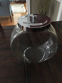 3 large round glass storage jars with metal lids Arlington, 22213