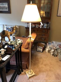 Antique floor lamp Cream with decorative detail and Cream with brass