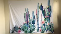 Watercolor Cactus Wall Tapestry  Athens, 30602