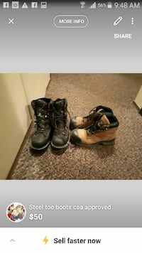 two pairs of brown and black leather work boots screenshot Saskatoon, S7M 5R2