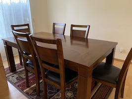 Extendable dining table set with 6 chairs