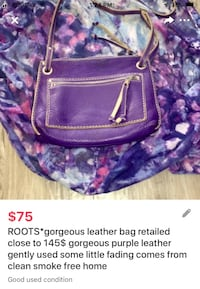 ROOTS*gorgeous leather bag retailed close to 145$ gorgeous purple leather gently used some little fading comes from clean smoke free home  London, N5W 1E8