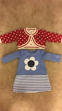 toddler's red cardigan and blue Gymboree dress Falls Church, 22043