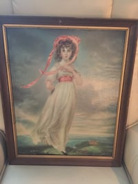 woman in white dress painting with brown wooden frame Virginia Beach, 23451