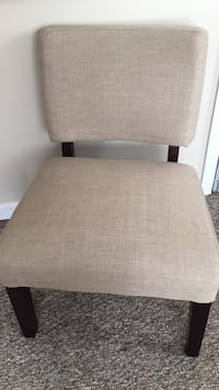 (2)  Accent Chairs with Light Tan Padded Fabric and dark wood frame Milton