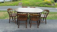 Antique Solid wood dining table 6 chairs 3 leafs