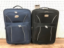 20 INCH BLACK , NAVY CARRY-ON LUGGAGE TRAVEL SUITCASES