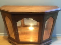 brown wooden framed glass cabinet Los Angeles, 90049