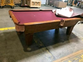 Beautiful 8' pool table   OAK SLATE .... OL HAUSEN
