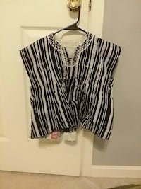 women's white and black pinstripes crop top Bristow, 20136