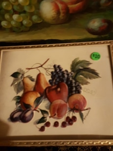 variety of fruits painting with brown frame