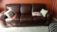 brown leather 3 seat sofa Jessup, 20794