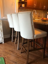 3 cream padded bar stools Toronto, M6H 4B9