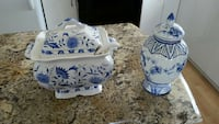 two white-and-blue ceramic jars with lid Laval, H7G 3M5