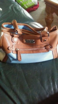 brown and blue leather tote bag