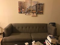 gray fabric tufted sectional sofa Burbank