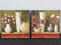 Two brown wooden framed painting of flowers Paramus, 07652