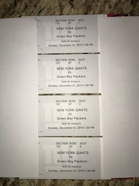 Four for NY Giants vs GB Packers 12/1