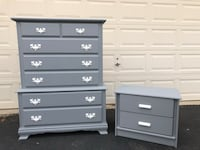 Solid Wood 7 Drawer Long Dresser With Nightstand Gray With White Handles  Manassas, 20112