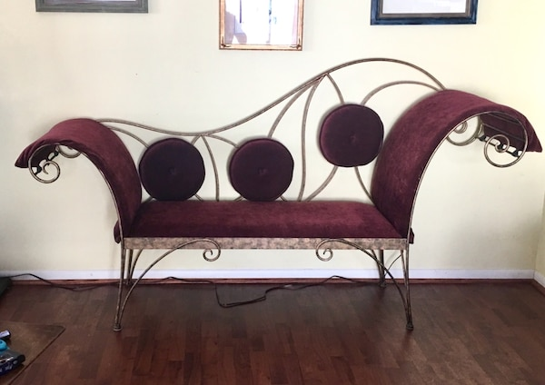 REDUCED!! Make an offer  Bench.Hand crafted one-of-a-kind iron and upholstered bench 0e326407-1e2b-48fc-9fa3-2f17b35fc5a5