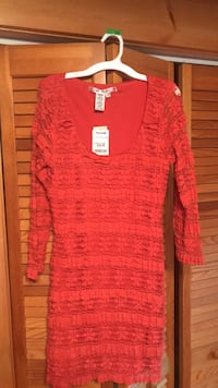 women's red scoop-neck 3/4-sleeved fitted dress Wyoming, 18644