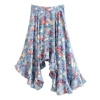 WEEKEND GIRL SWING IRREGULAR SKIRT IN BLUE WITH FLOWER PRINT