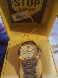 round silver Invicta chronograph watch with link bracelet Fairfax, 22030