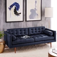 Blue leather tufted 2-seat sofa New York, 10454