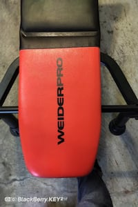 Gym Bench, bars and weights for sale