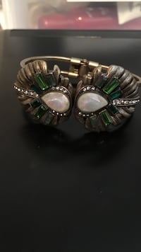 silver and green gemstones decor