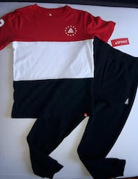 red, whie, and blue Asphalt T-shirt and black pants
