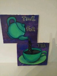 Time for tea painted canvas  decor set Ocala, 34473