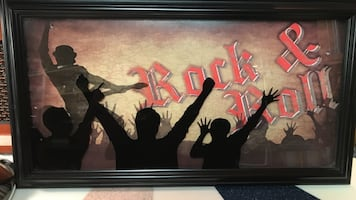 Rock & roll painting with black wooden photo frame!!!!