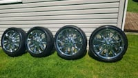 four multi-spoke car wheels with tires Coldwater, L0K 1E0